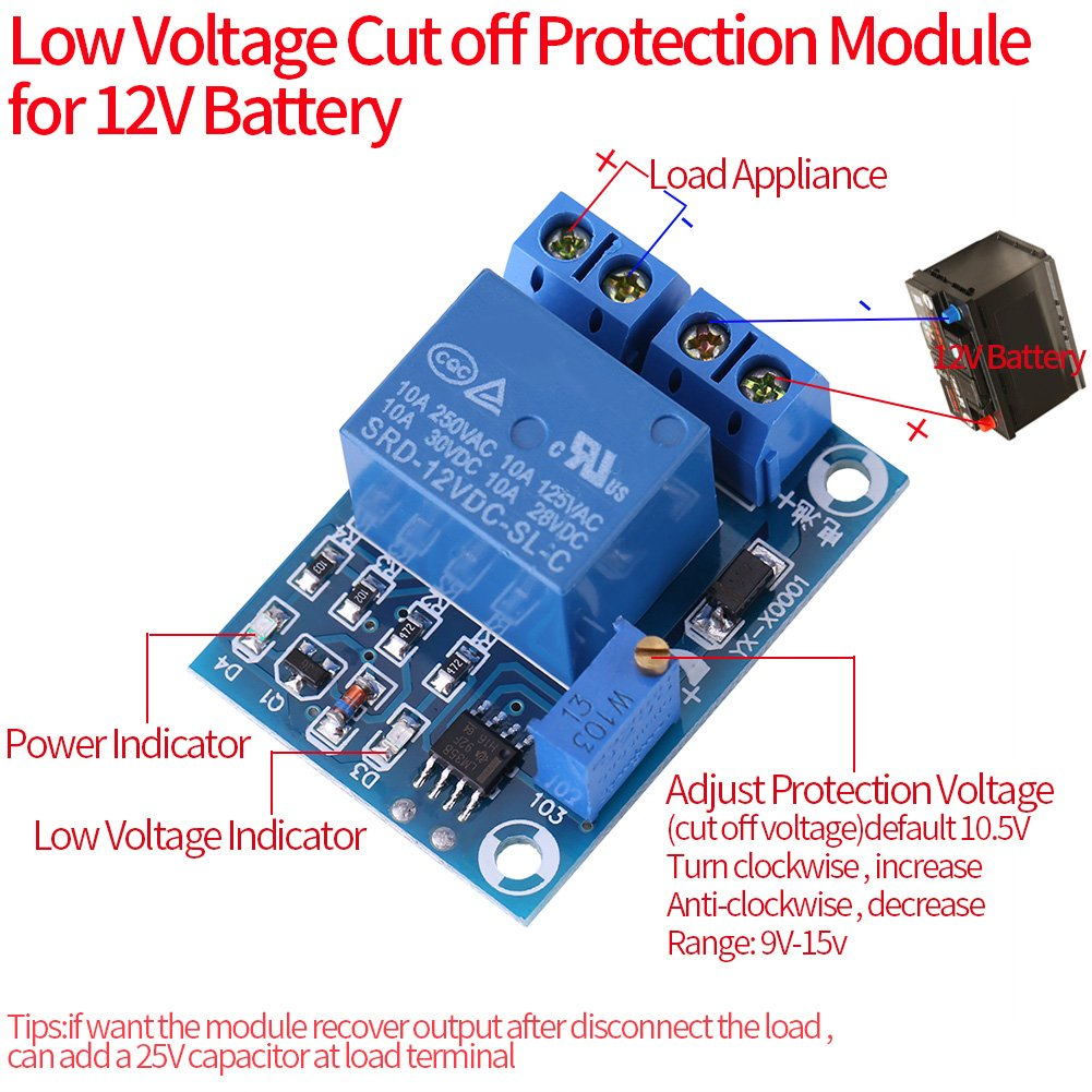 Dc12v Battery Charging Controller Protection Module Low Opamp High Charger Circuit Voltage Cut Off Switch Electronics