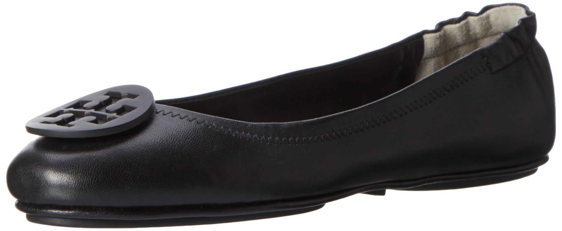 Tory Burch Minnie Travel Ballet Flats in Black, Black, Size 7.0 by Tory Burch