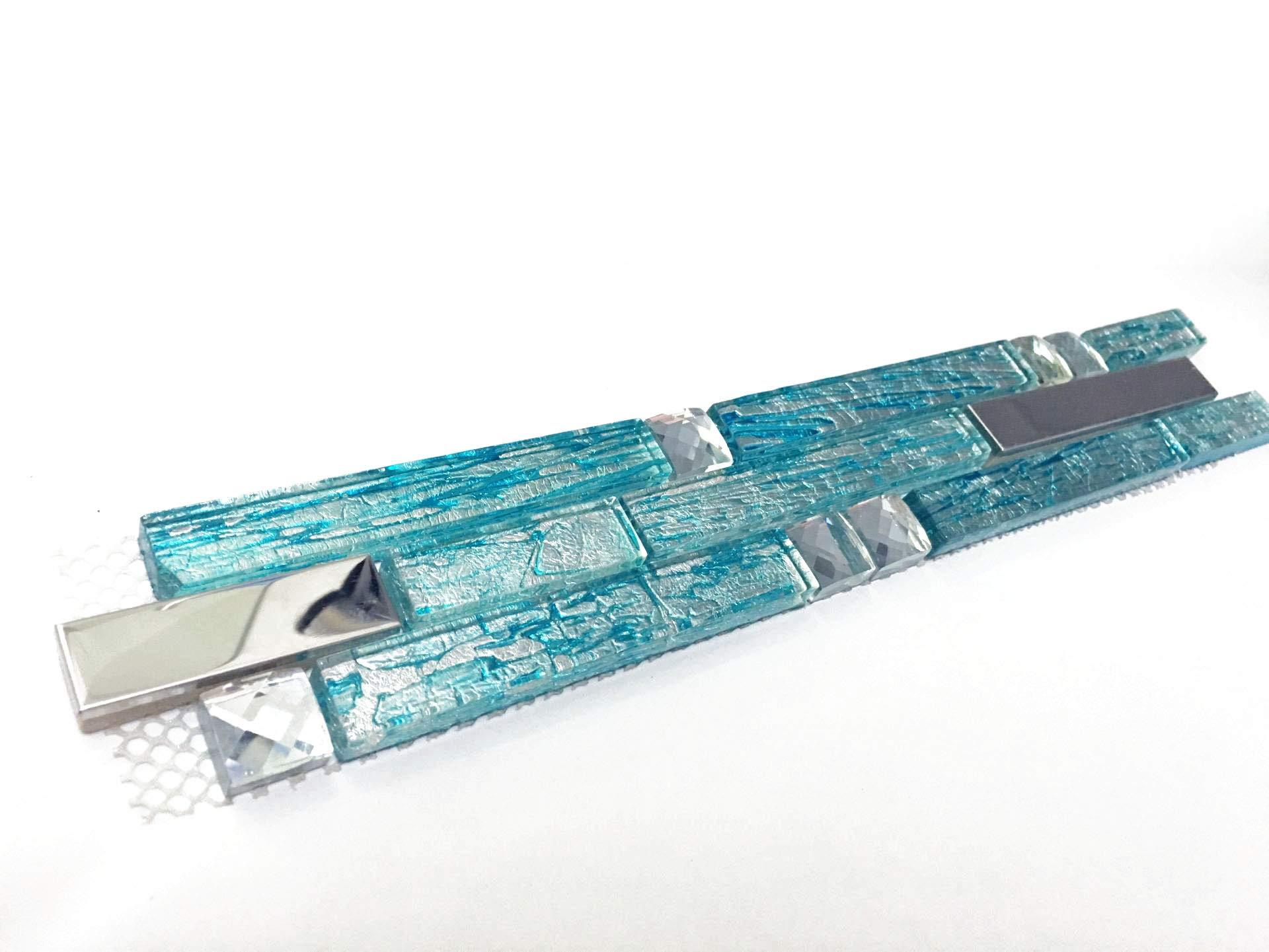 Hominter Tile Sample 3 x 12 Inches: Silver Stainless Steel Tile, Aqua Blue Glass Backsplash Tiles - Kitchen, Bathroom, Shower Wall Decor H20