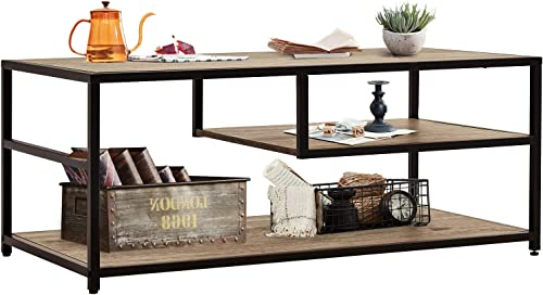 Linsy Home Industrial 3 Tier Coffee Table