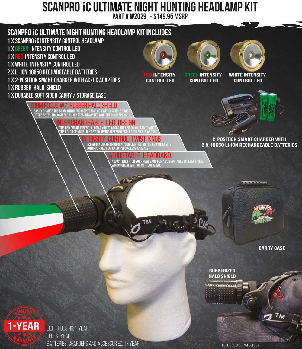 Wicked Lights ScanPro IC Ultimate Night Hunting Headlamp with Full Intensity Control and GREEN, RED, and WHITE LED's for coyote, predator, and hog hunting by Wicked Lights (Image #2)