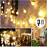 LED String Lights,34Ft 100Leds Globe String Lights,Waterproof Ball Decorative Lights with Remote Controller for Wedding, Patio, Garden, Christmas, Holiday and Party(Warm White)