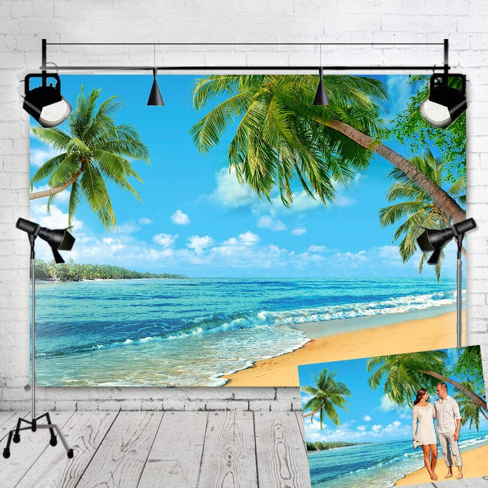 Art Studio Hawaii Beach Party Photography Backdrops Ocean Palm Tree Birthday Decoration Photo Background Booth Studio Props Vinyl 7x5ft