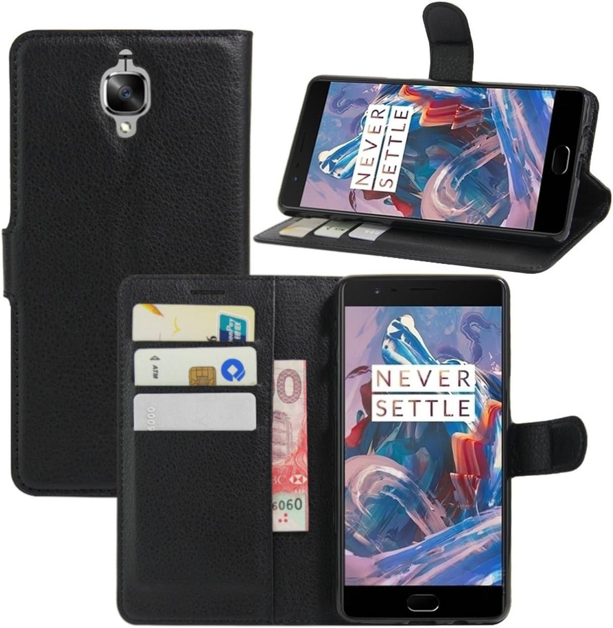 HualuBro Funda con Tapa para móvil OnePlus 3, Soporte, protección Integral, diseño de Cartera de Piel sintética, Tarjetero, Piel sintética, Negro, For OnePlus 3: Amazon.es: Electrónica