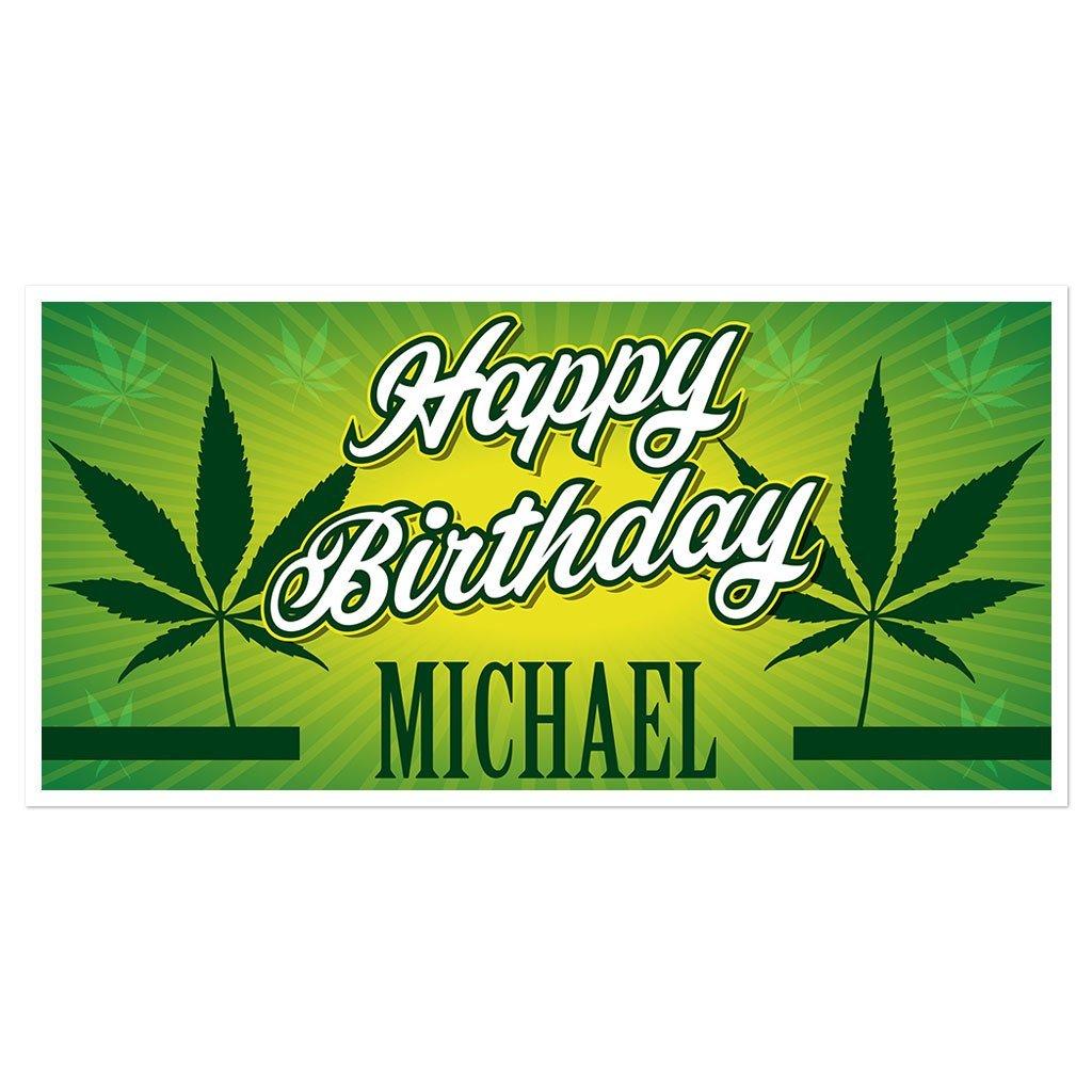 B075KMJ8F1 Marijuana Birthday Banner Personalized Party Backdrop Decoration 71eHU6uBC5L