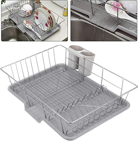 Coldshine Metal Dish Drainer Stainless Steel Dish Rack With Extendable Drip Tray Wire Cutlery Draining Holder Plate Kitchen Sink Cutlery Holder Amazon Co Uk Kitchen Home