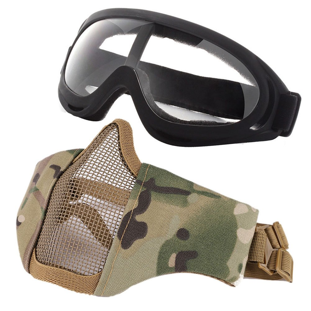 Balight Adjustable Half Metal Steel Mesh Face Mask and Goggles Set