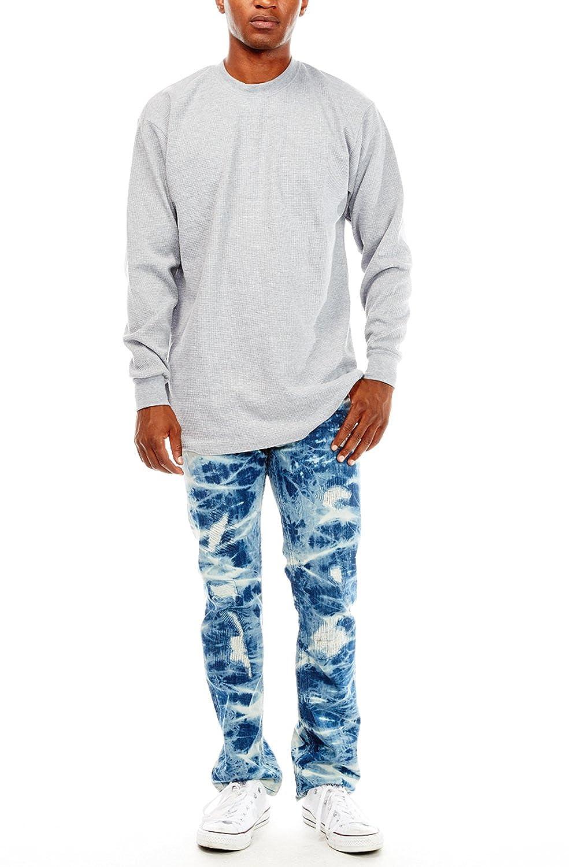 Mens Basic Plain Round Neck Thermal Long Sleeves Henley Top K100-BTL S, Grey