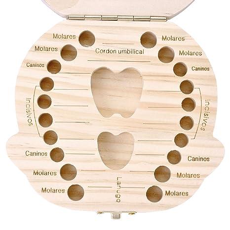 Amazon.com : Mogoko Baby Tooth Box, Milk Teeth Wood Case Storage Keepsake Organizer Deciduous Souvenir (Spanish(Name Customizable), Princess) : Baby