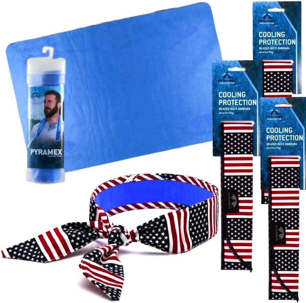 Cooling bandanas and towel by Pyramex. 4 Pack - 3 Patriotic Bandanas and 1 Towel