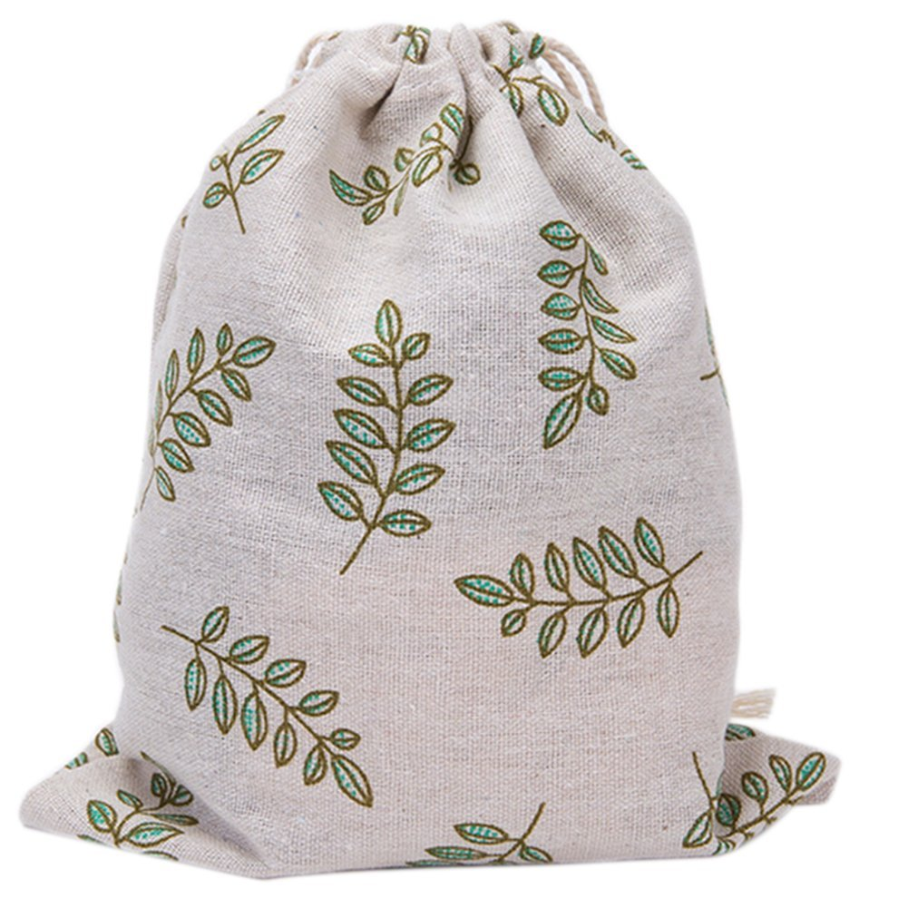 1xToruiwa Drawstring Bag Linen Cloth Lovely Printed Sundries Storage Bag Pouch Handmade Gift Candy Bag Jewelry Bag Paprty Favors Gift Decoration