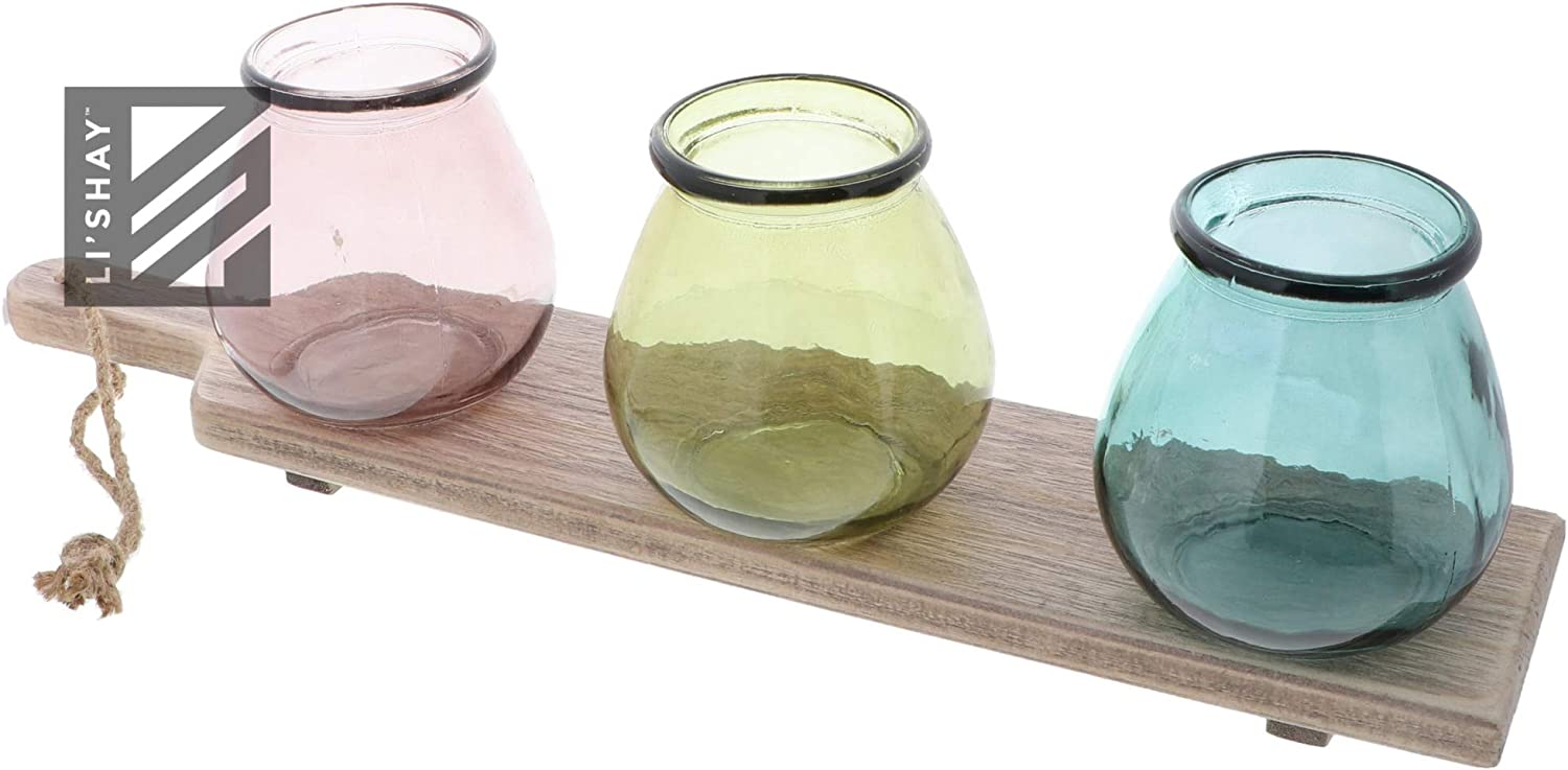 Set of 6 Mercury Glass Candle Holders Multi Colored Votive Holder on Round Tray