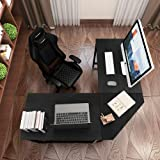DlandHome L-Shaped Computer Desk 59 inches x 59 inches, Composite Wood and Metal, Home Office PC Laptop Study Workstation Cor