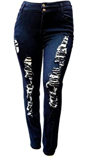 61b6d5e0604 1826 Jeans Diamante Womens Plus Size Black Denim Jeans Stretch Skinny  Ripped Distressed Pants