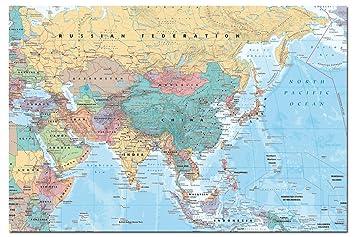 Nahost Karte.Amazon De Asien Und Nahost Karte Poster Satin Matt Laminiert 91