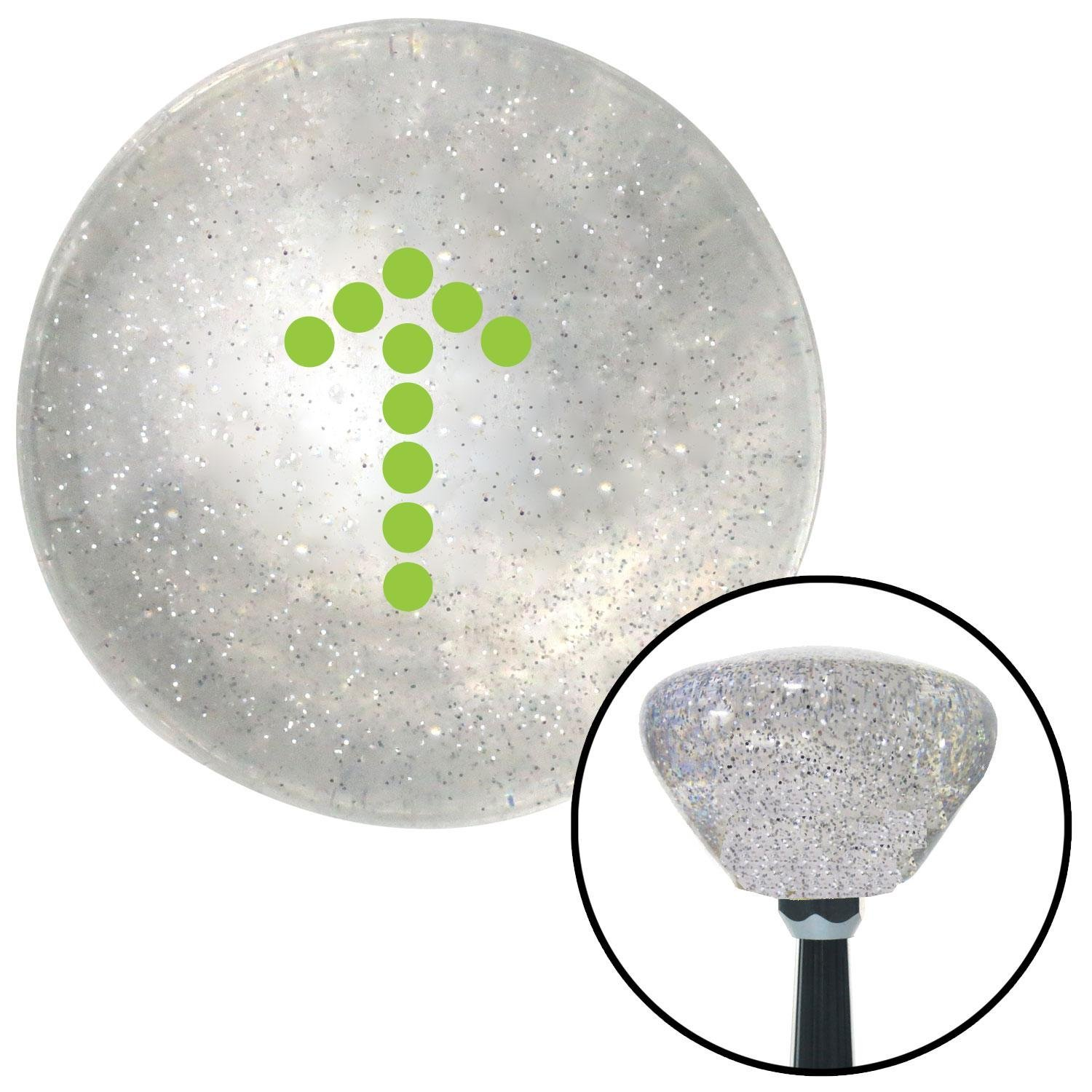 Green Dotted Directional Arrow Up American Shifter 160132 Clear Retro Metal Flake Shift Knob with M16 x 1.5 Insert