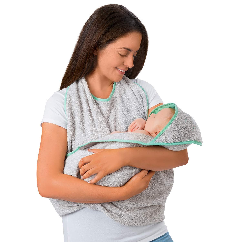 Cremefarben Clevamama Baby Kapuzen Handtuch Badetuch Badeponcho als Sch/ürze aus Baumwolle 98 x 98 cm
