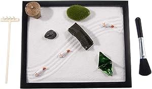 Japanese Zen Garden for Desk and Office (9.84 x 9.84 inch) Accessories Includes Zen Garden Sand, Rocks, Rake, Moss Stones, Fishes, Lantern, Bridge, and Origami GR032