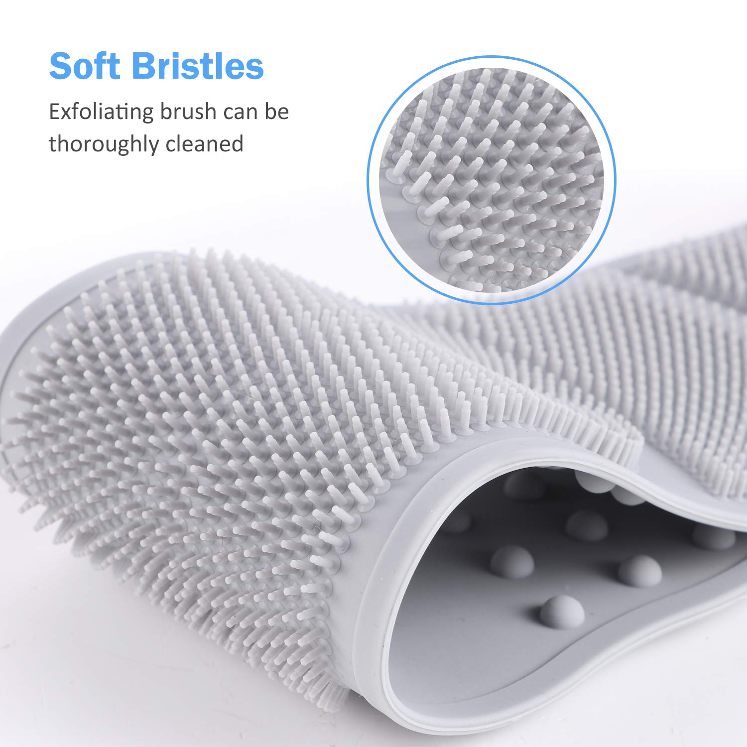 Silicone Back Scrubber for Shower, 2Pcs Exfoliating Bath Body Brush for Women and Men, Upgrade Back Washer, Easy to Clean(Grey) : Beauty
