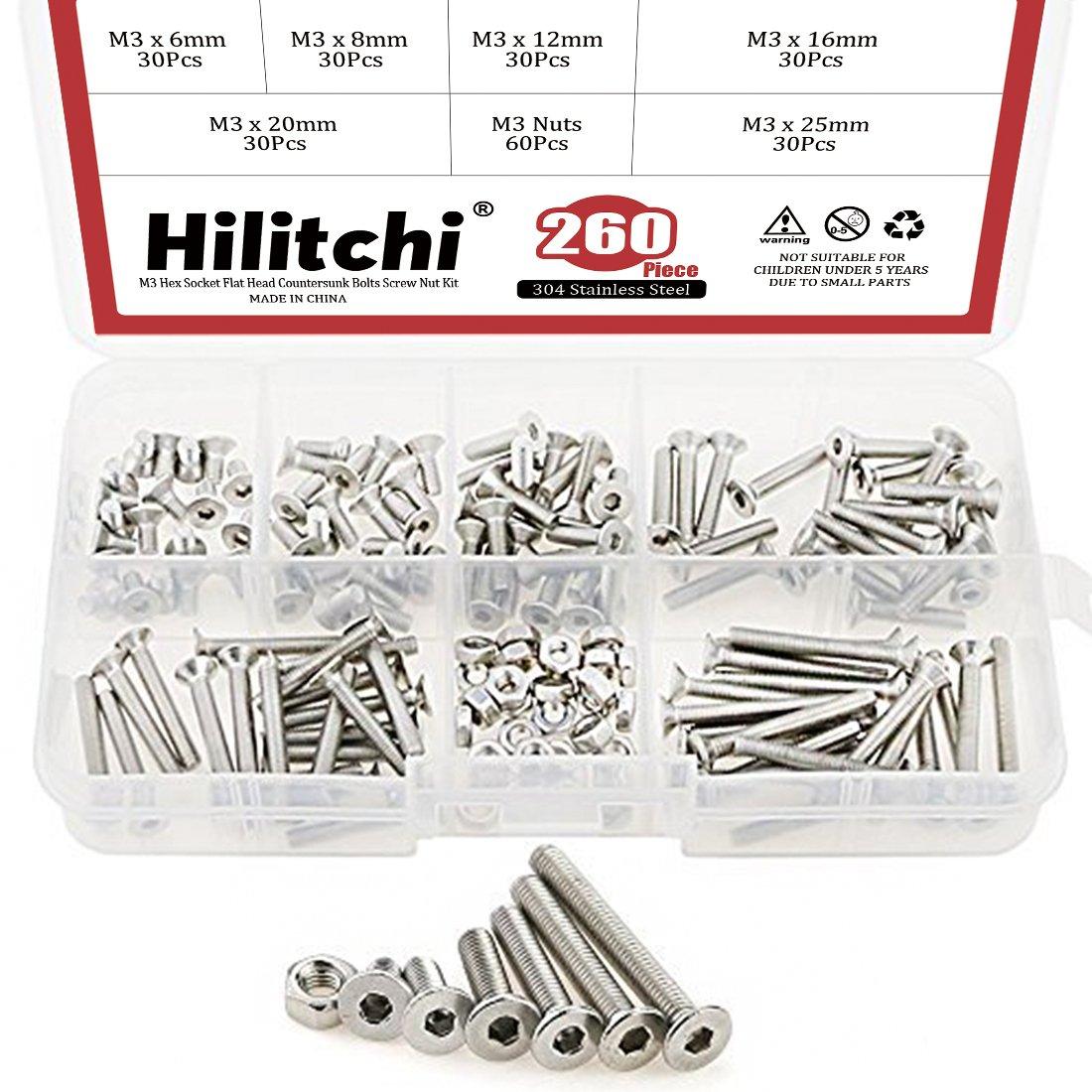 Hilitchi 260-Piece Metric M3 Hex Socket Flat Head Countersunk Bolts Screw Nut Assortment Kit - 304 Stainless Steel
