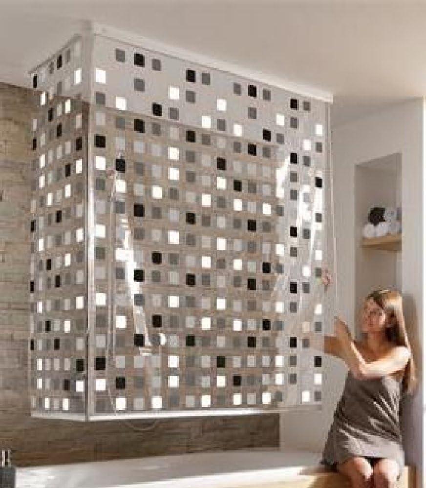 Cortina de Esquina para Ducha con diseño de mosaico gris Incluye ...
