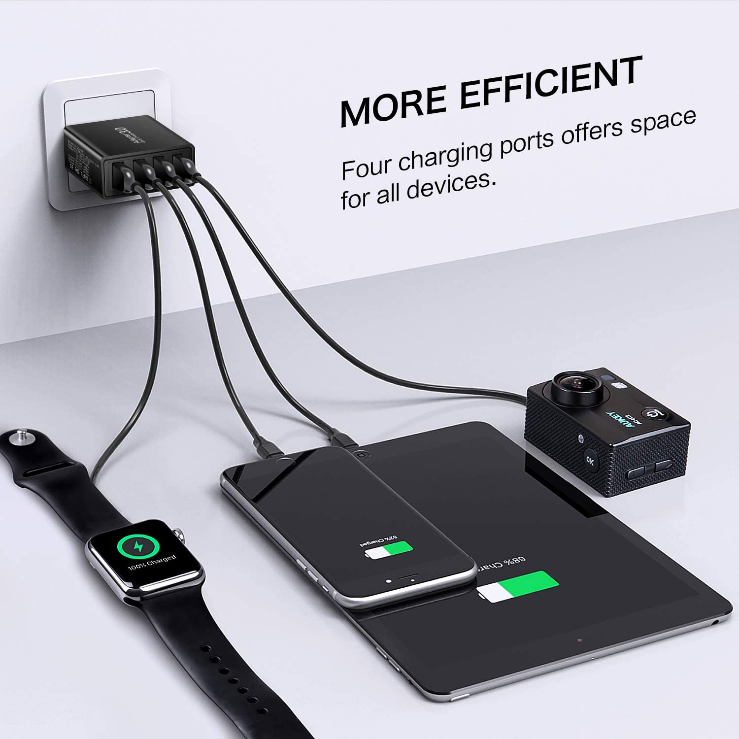 4-Port USB Plug for Galaxy S10+ S9+ Note 10+ Note 9+ Note 8 Boxeroo Fast Charge 3.0 Wall Charger 2Pack iPhone 11 Pro Max XS Max XR X 8 7 Plus LG G6 V30 HTC 10 USB Fast Charger