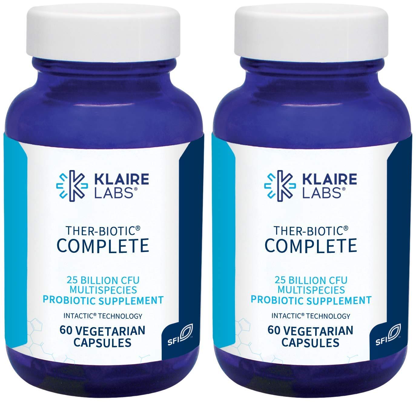 Klaire Labs Ther-Biotic Complete Probiotic - 25 Billion High CFU Blend, The Original Hypoallergenic Probiotic for Men & Women, Dairy-Free (60 Capsules / 2 Pack)