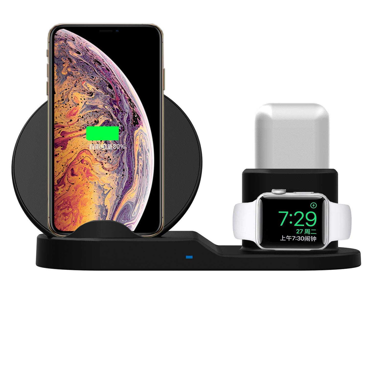 TOOBOSS 3 in 1 Wireless Charger,10W Qi Fast Wireless Charger Stand Compatible with iPhone Xs Max/XR/Samsung S10 S9+ Note 8,Wireless Charging Station Compatible with Apple iWatch Series 1/2/3/4,AirPods