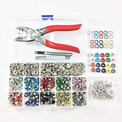 100pcs 9.5mm 4 Part Pearl Snap Poppers with Hand Tool Set for DIY Baby Clothing