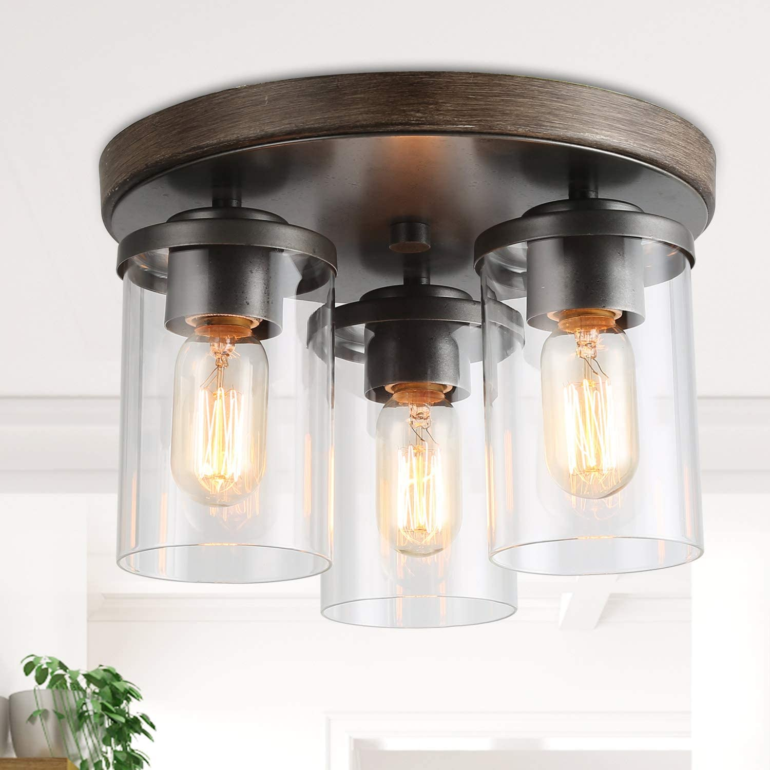 Laluz 3 Semi Flush Mount Ceiling Light Farmhouse Fixture In Faux Wood And Rustic Black Metal Finish With 3 Cylindrical Clear Glass Shades Vintage Style For Foyer Hallway Kitchen Dining Rooms Amazon Com