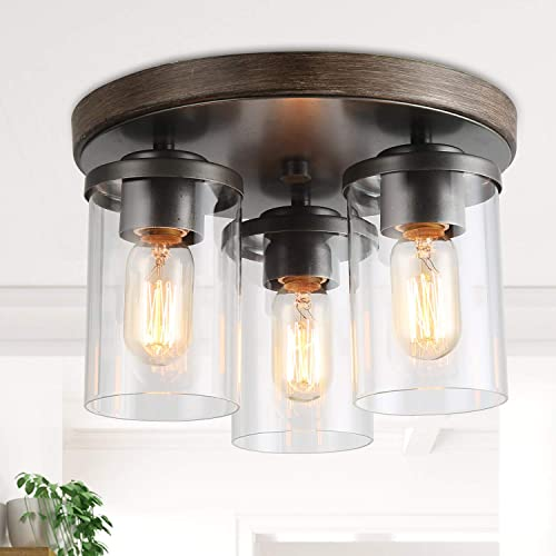LALUZ 3 Semi Flush Mount Ceiling Light, Farmhouse Fixture in Faux Wood and Rustic Black Metal Finish with 3 Cylindrical Clear Glass Shades, Vintage Style for Foyer, Hallway, Kitchen, Dining Rooms