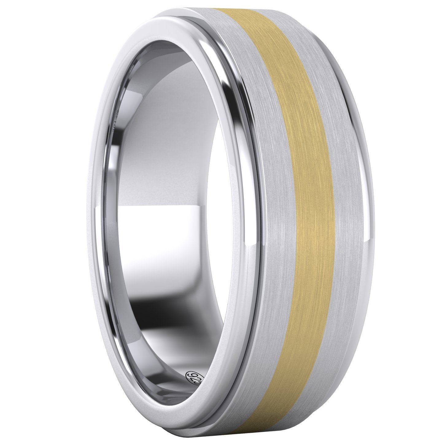 LANDA JEWEL Solid 10K Yellow Gold Inlaid Heavy 8mm Sterling Silver Mens Wedding Band Comfort Fit Two Tone (11) by LANDA JEWEL (Image #3)
