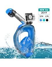 Splend Snorkel Mask, Full Face Snorkeling Mask Easy Breathing Foldable Snorkeling Face Mask with 180° Panoramic View for Adults Kids, Anti-Fog Anti-Leak Diving Mask with Detachable Sports Camera Mount