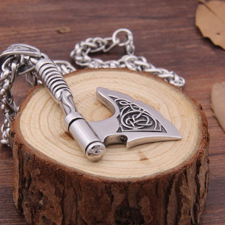 BAVAHA Stainless Steel Viking 2018 Pendant Necklace Rune Ax Bottle Opener fit Man Gift