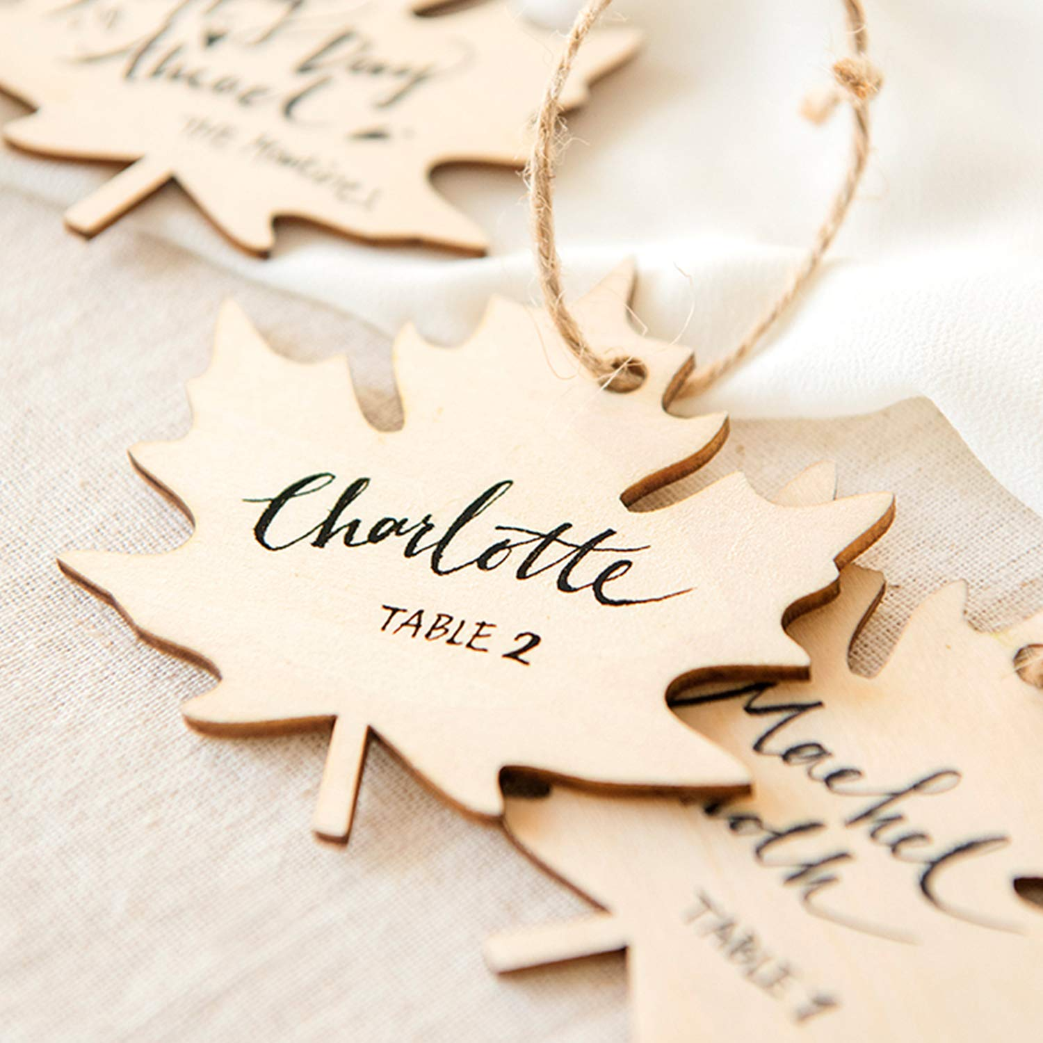 Ling's moment Maple Leaf Wooden Rustic Country Wood Wedding Place Card Party Supplies