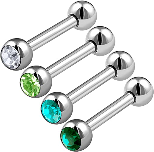BodyJ4You Tragus Ball Piercing Aurora Star CZ Stud Earring 16G Helix Ear Barbell