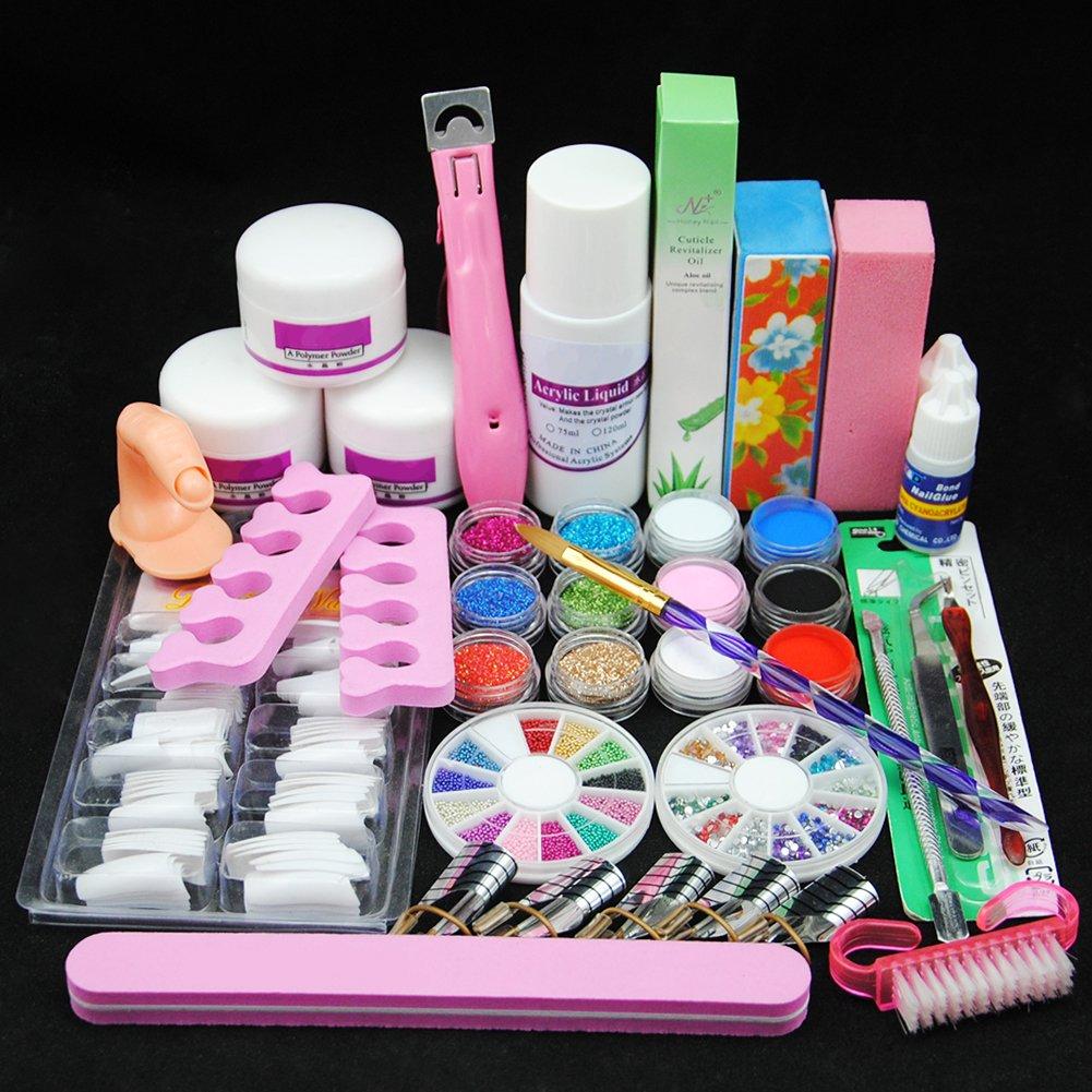 Acrylic Nail Kit 25 Colors Acrylic powder Shiny Glitter Nail Art ...