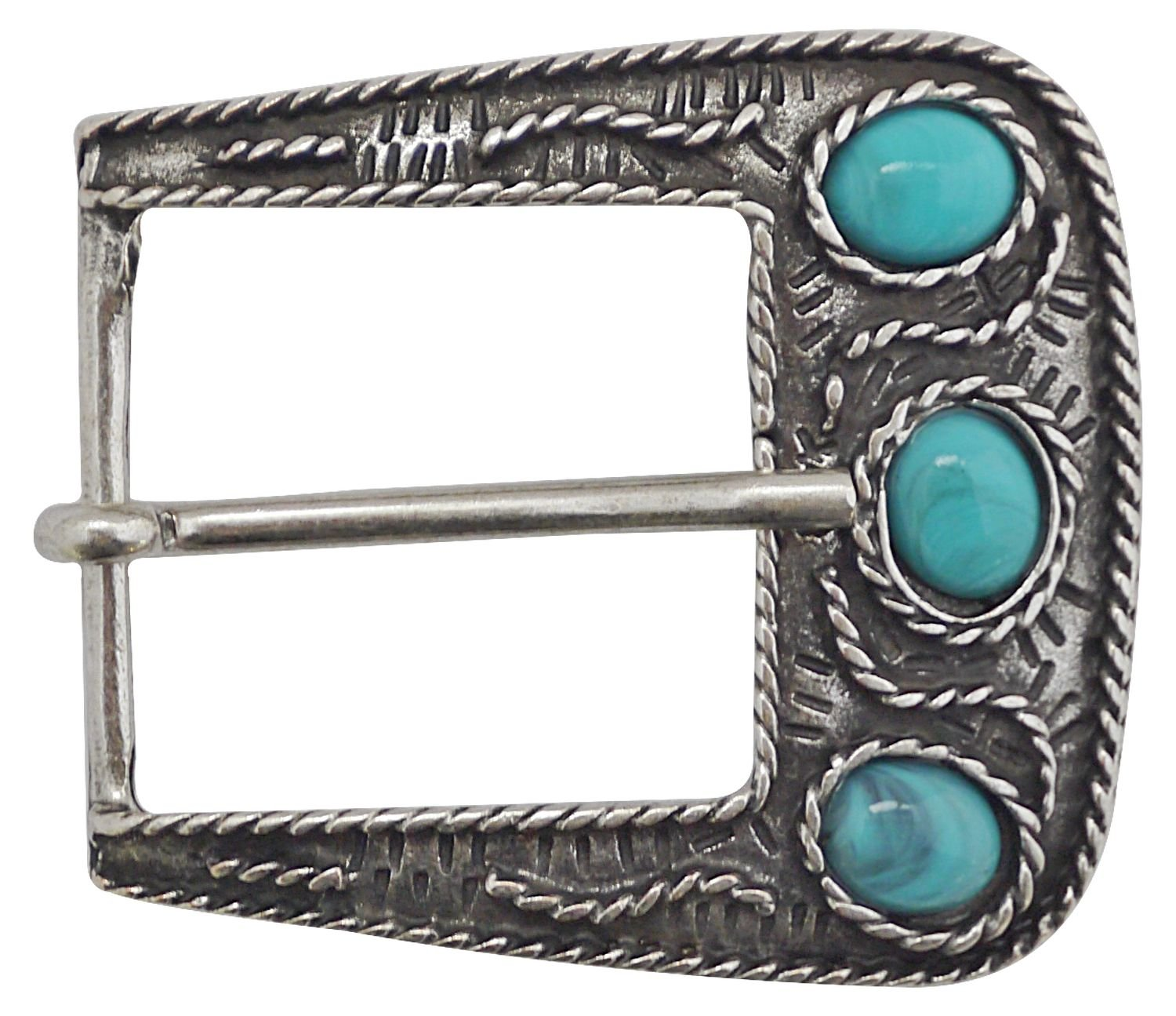 FRONHOFER Belt buckle with turquoise stones, silver buckle for women 1.2'/3 cm, Color:Silver color, Size:One Size