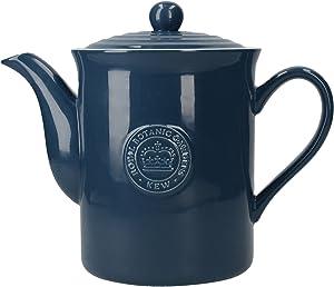 Royal Botanic Gardens, Kew 'Richmond' 8-Cup Vintage-Style Ceramic Teapot, 1.55 L (2.75 Pints) - Navy Blue