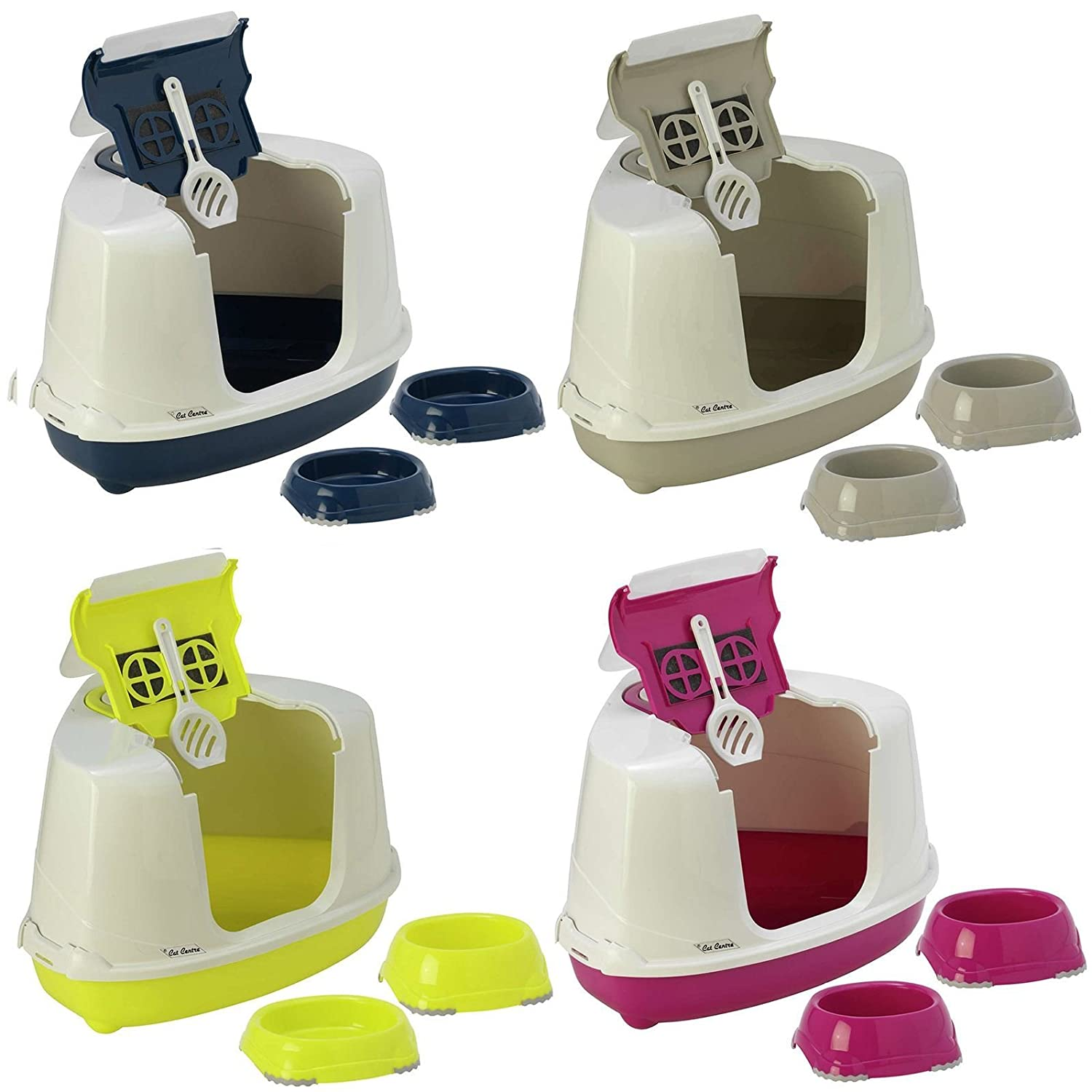 Pink Corner Cat Hooded Litter Tray + 2x0.2L Non Slip Bowls Toilet Loo Filter Scoop Pan Bolting Darts