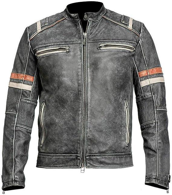 Cafe Racer Black Vintage Biker Classic Motorcycle Black Real Leather Jacket