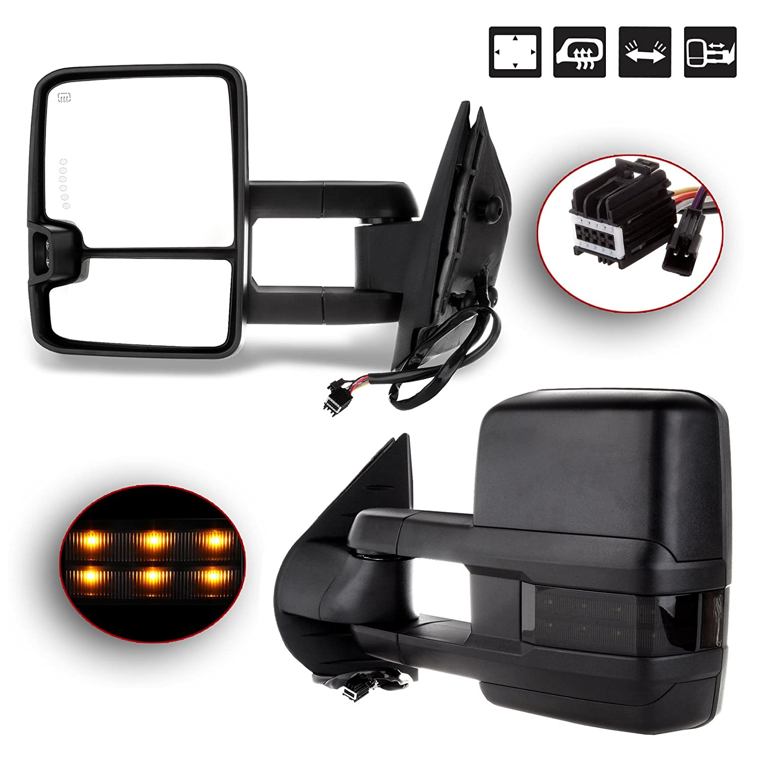Towing Mirrors Automotive Exterior Mirrors Chevy GMC 2007-2014 Silverado/Sierra Pair Rear View Mirrors Power Control Heated Turn Signal Backup Light Manual Telescoping Folding SCITOO 050924-5206-1705321