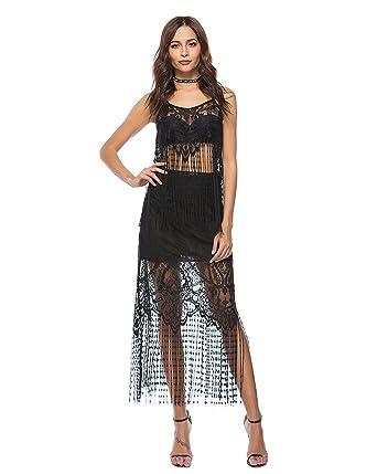COCO clothing Kleider Damen Sommer Strandkleider Fashion lang kleider  Quaste Sexy Trägerkleid (schwarz, m c93dd782ce