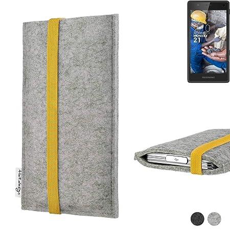 flat.design Handyhülle Coimbra für Fairphone Fairphone 2 Faire Filz Schutz Tasche Case hellgrau gelb