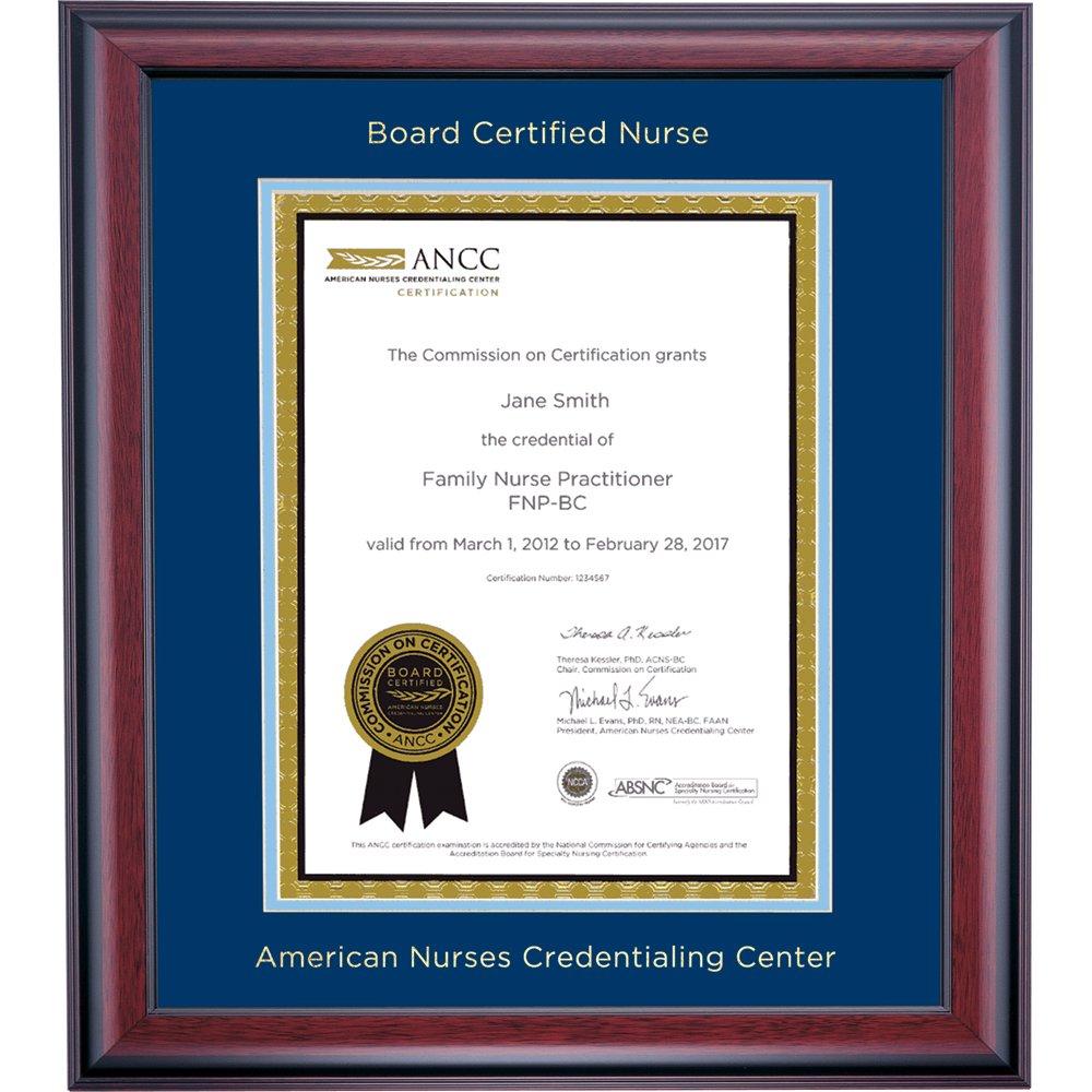 Campus Linens American Nurses Credentialing Center Certificate Frame Blue Light Blue Matting Embossed
