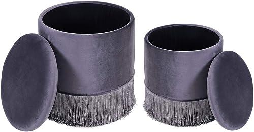DEERUN Modern Velvet Tassel Design Round Storage Ottoman/ Upholstered Foot Rest Stool