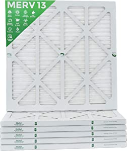 """20x20x1 Merv 13 (MPR 2200) Pleated AC Furnace Air Filters. 6 Pack (Actual Size: 19 ½""""x 19 ½"""" x 7/8"""")"""