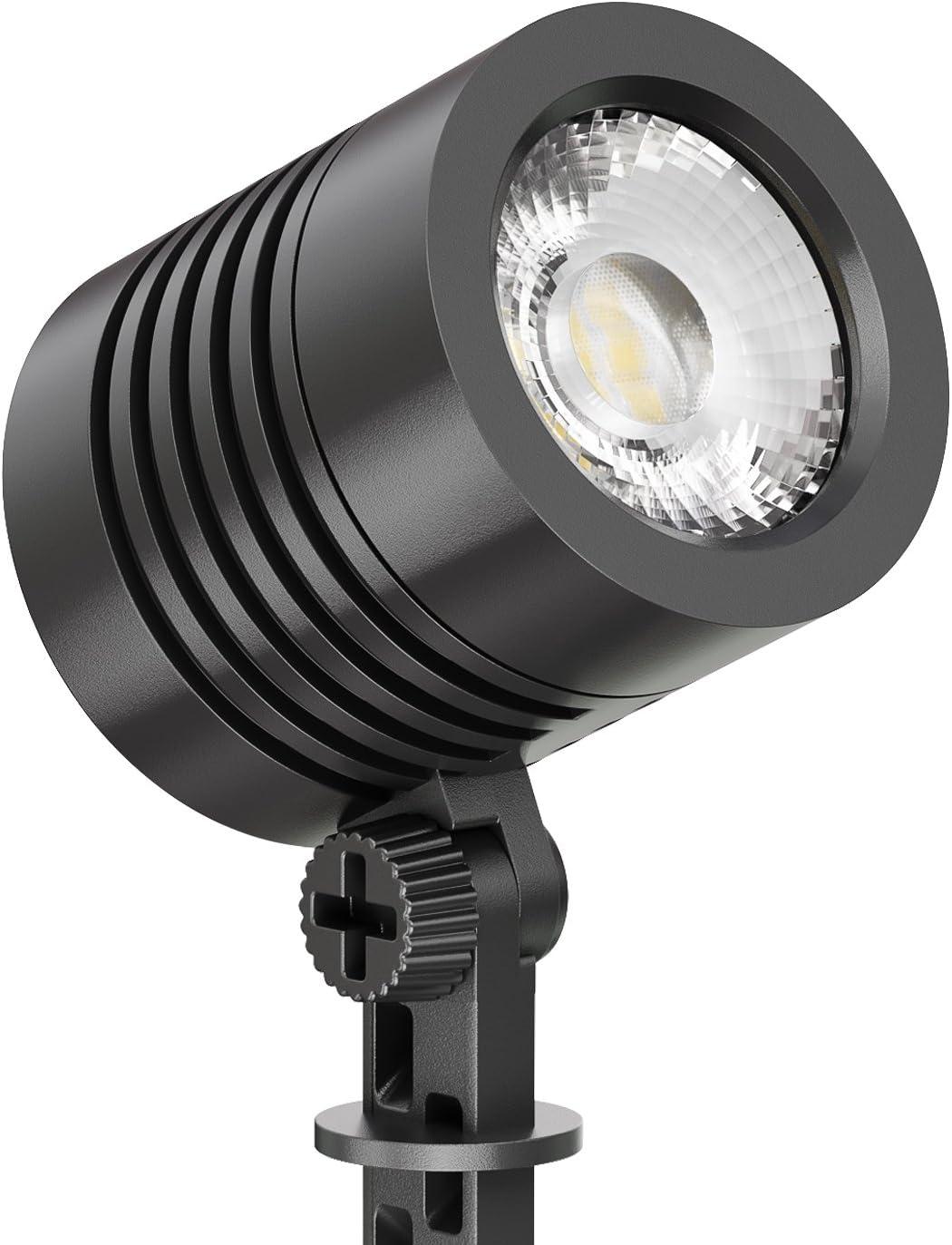 grau ledscom.de LED Gartenstrahler FLIN mit Erdspie/ß /& Stecker f/ür au/ßen IP66 wasserfest 10W 800lm warm-wei/ß Scheinwerfer