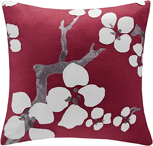 N Natori Cherry Blossom Square Pillow Red 18×18