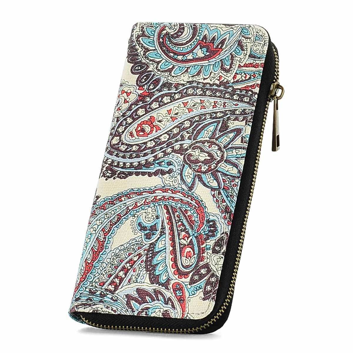 RUNWINDY Womens Canvas Wallet Zipper Around Long Clutch Purse Wristlet Handbag